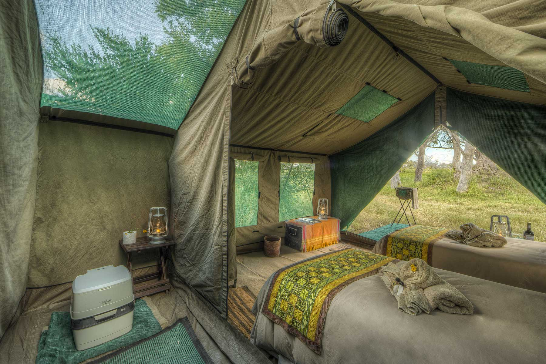 Luxury tent interior with ensuite bathroom Chase Africa Safaris
